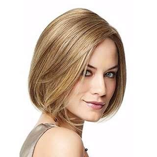 """Women Wigs 12"""" Blonde Wig Short Straight Wigs Linen Blonde  Fancy Dress Long Lasting wig  (Free shipping from Japan)"""
