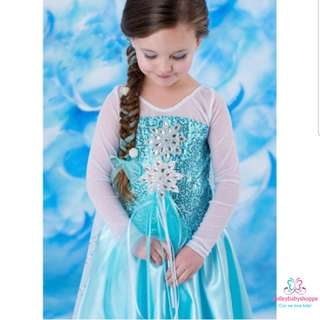 *FREE TIARA AND WAND!*Princess Dresses Costume Role Play Pretend Play Party Dress Fairy Tales Elsa Dress Kids Children Girls