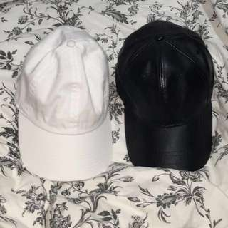 BRANDY MELVILLE White Baseball Cap & BOOHOO Black Leather Baseball Cap