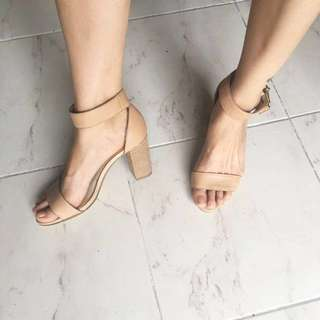 Nude / Beige Wooden Two Strap Heel
