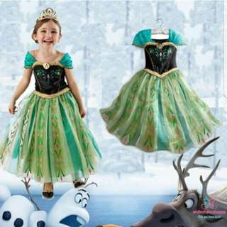 *FREE TIARA AND WAND!*Princess Dresses Costume Role Play Pretend Play Party Dress Fairy Tales Anna Dress Kids Children Girls