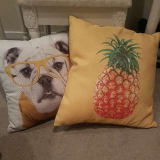Pineapple And Bulldog Pillows- The Warehouse