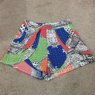 Patterned Fluor shorts size 6