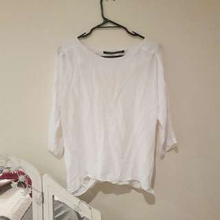 White Cut Our Back Blouse