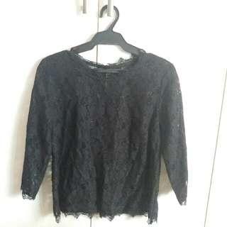 Talbots Petites Black Lace Top
