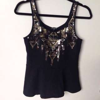 EXPRESS Black Top With Two Tone Sequins