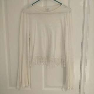Bell Sleeve Crop Top With Lacy Trim Size 16