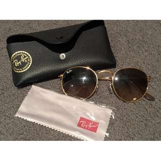 Ray-Ban Round Gold Metal, Pink-brown gradient tint.