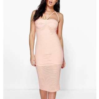Pink beige bodycon dress