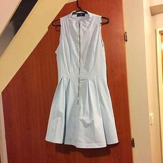 Cue dress light blue zip front