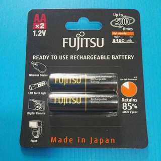 Fujitsu FDK Low Self Discharge Rechargeable Battery  AA x2 1.2V 2550mAh. Made in Japan. 500cycles with operating temperature -20℃. HR-3UTHCEX(2B). Eneloop Pro OEM.   