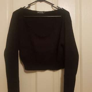 Pretty Little Thing Off The Shoulder Crop Soft Knitted Size M