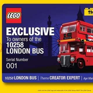 *LegoAsh* Lego London Bus 10258 EzLink Card Night