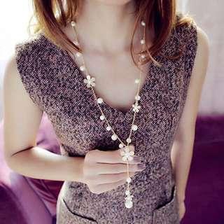 韓國珍珠雛菊長頸錬配飾