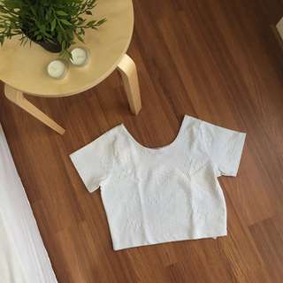 Cotton On Off White Crop Top