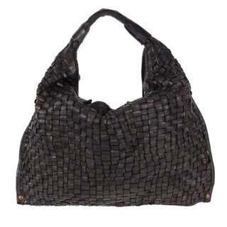 Campomaggi Hand Made Hobo Woven Bag In Nero Medium Size
