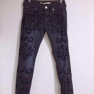 zara黑色印花長褲26碼,只穿過一次近全新