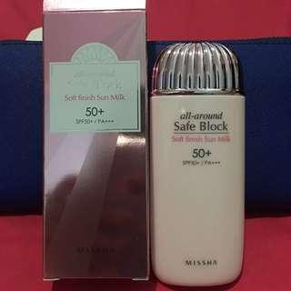 Missha All Around Safe Block Soft Finish Sun Milk SPF50+/PA+++ (70ml)