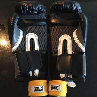 Everlast boxing gloves + wraps