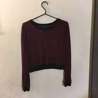 Red long sleeved crop top