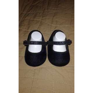 Little Charles & Keith Navy Blue Velvet Doll Shoes Baby Girl
