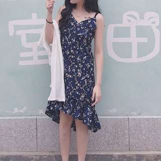 V領細肩連衣裙