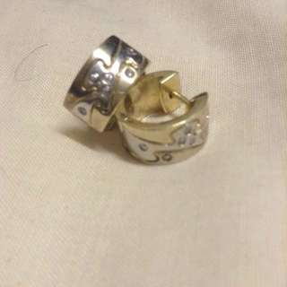 Sterling Silver And Gold Chrome  Sterling Silver With Crystal Studs