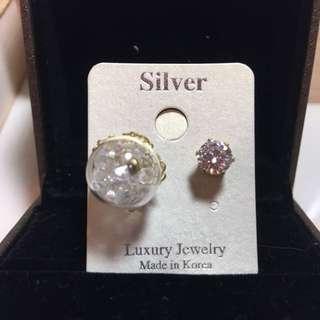 單鑽玻璃球耳環(純銀)