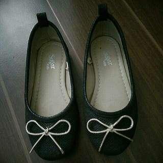 SUGAR Black Doll Shoes with gold ribbon