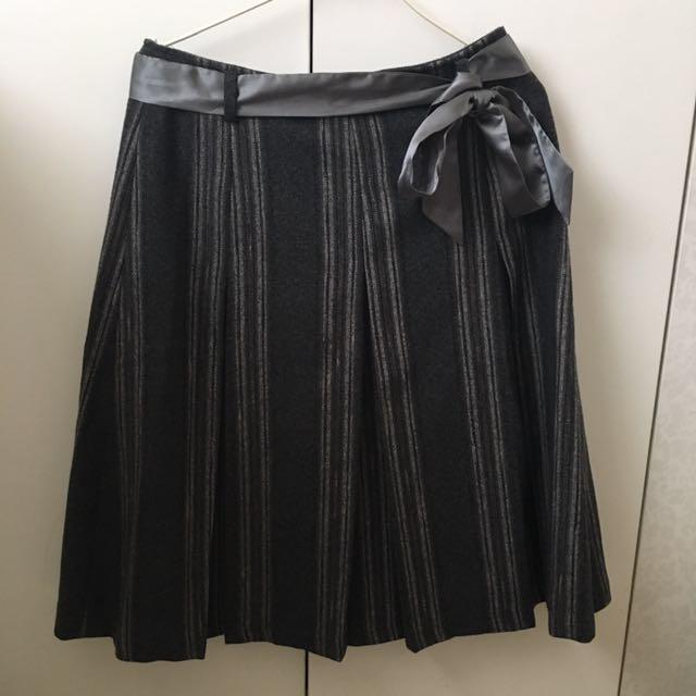 毛料條文百折裙