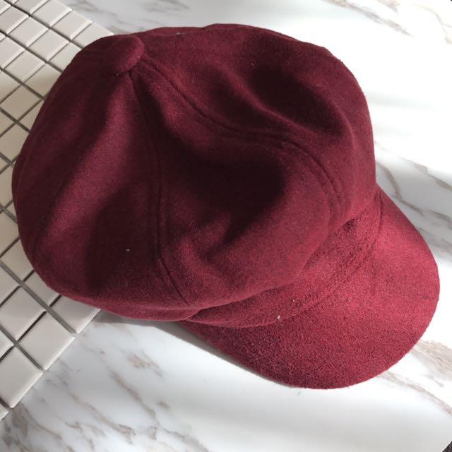 酒紅色毛呢帽