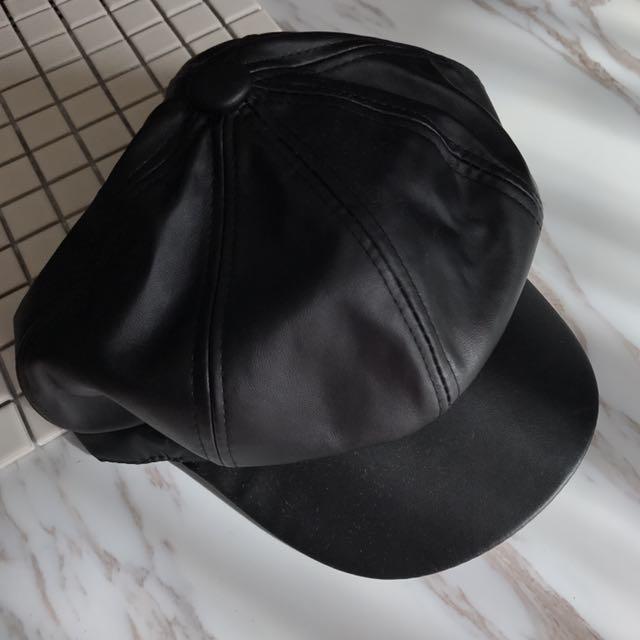 黑色個性皮格帽