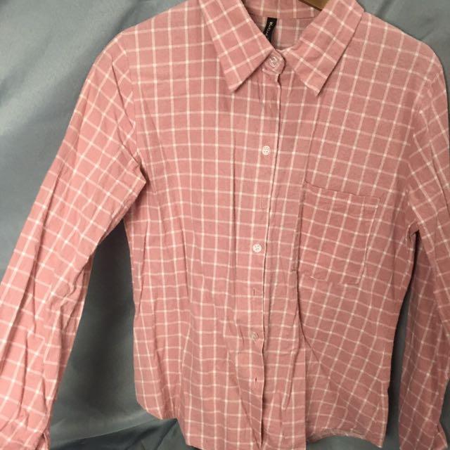 百搭粉色格子襯衫