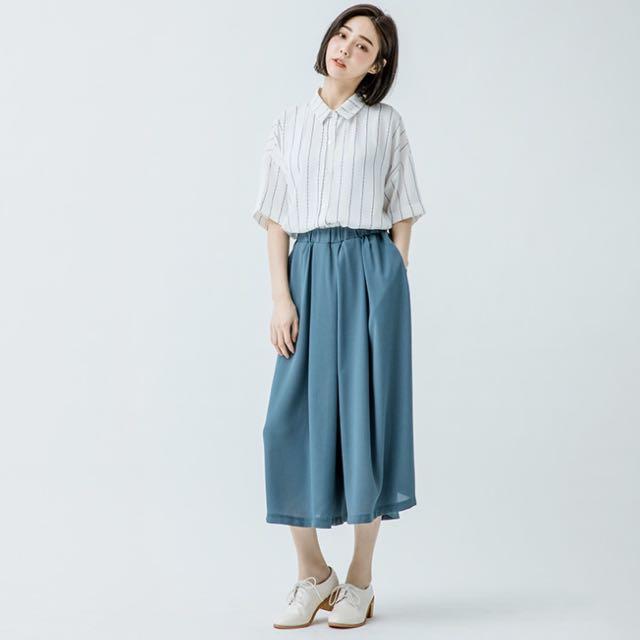 💧全新·queen shop灰藍雪紡寬褲(有口袋)