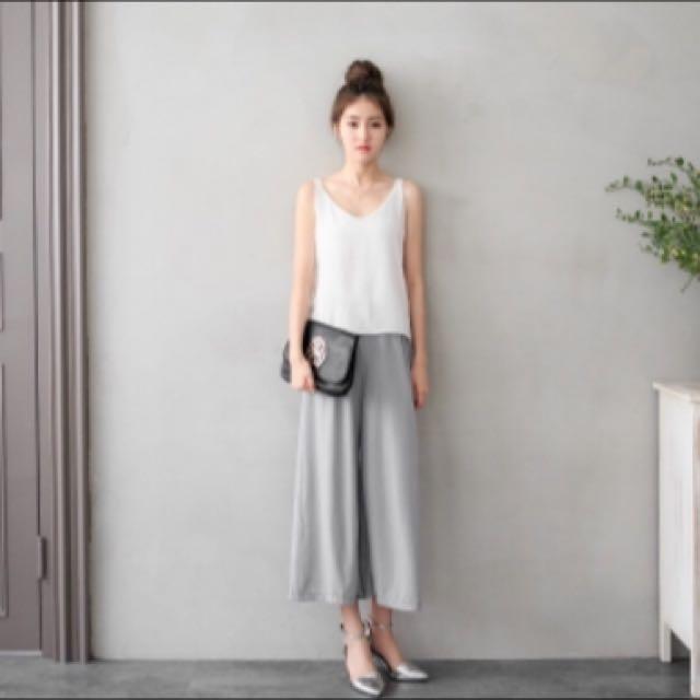 👖全新·灰色壓紋寬褲
