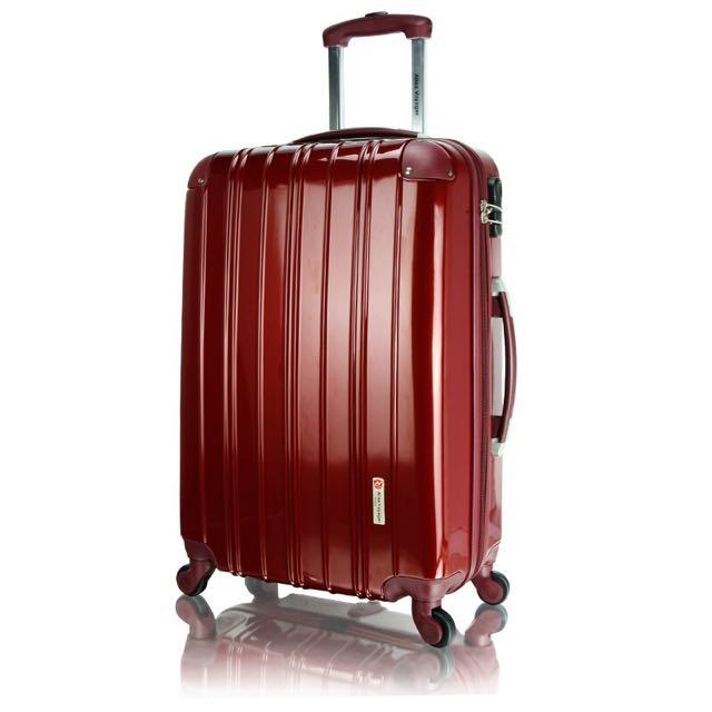 優雅時尚 28吋進口PC材質硬殼行李箱 貼心專利輔助輪設計旅行箱 加大容量靜音萬向輪拉桿箱 國色天香系列