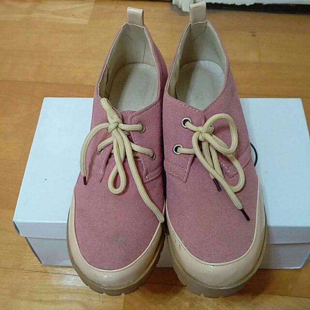 粉紅色厚底牛津鞋 #含運最划算#交換最划算