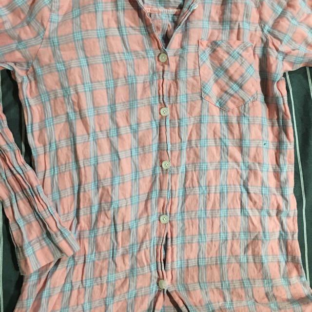 藍粉色 格子 襯衫外套