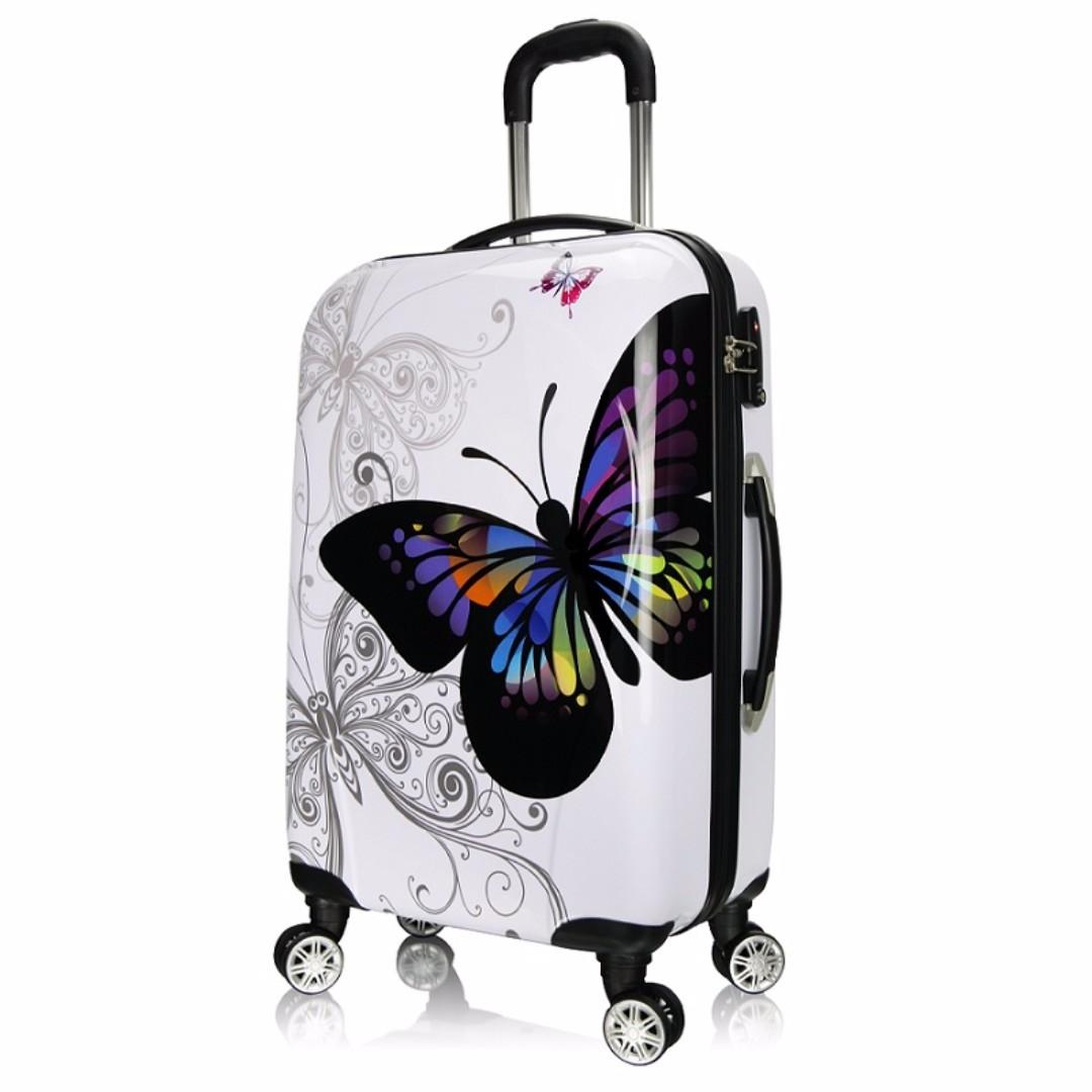 鏡面印花彩蝶行李箱 硬殼旅行箱 登機箱 24吋 飛機輪密碼鎖拉桿箱 彩蝶系列