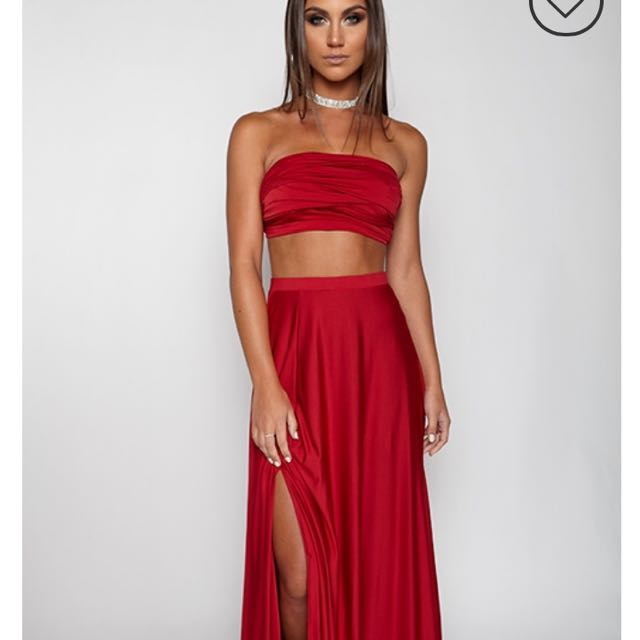 de2febde5876 Babyboo two piece formal strapless crop and skirt, Women's Fashion, Clothes  on Carousell