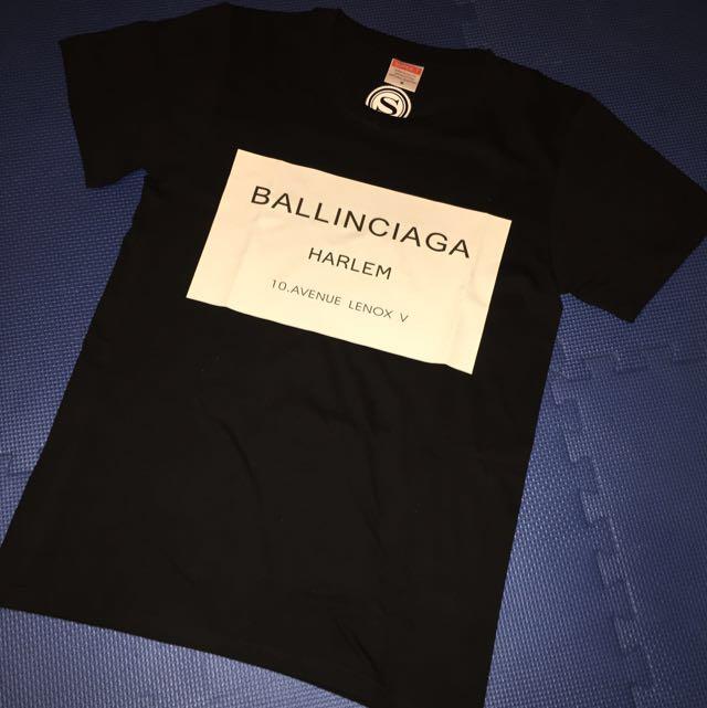 BALENCIAGA WHITE ON BLACK TEE UNISEX M #EOFYSALE