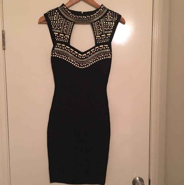 Bebe Black And Gold Dress