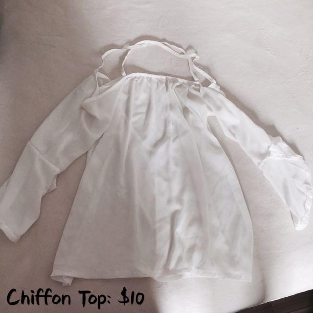 Bell Sleeve Chiffon Top