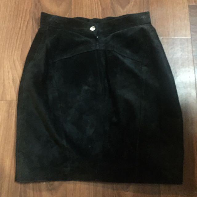 Black genuine suede skirt