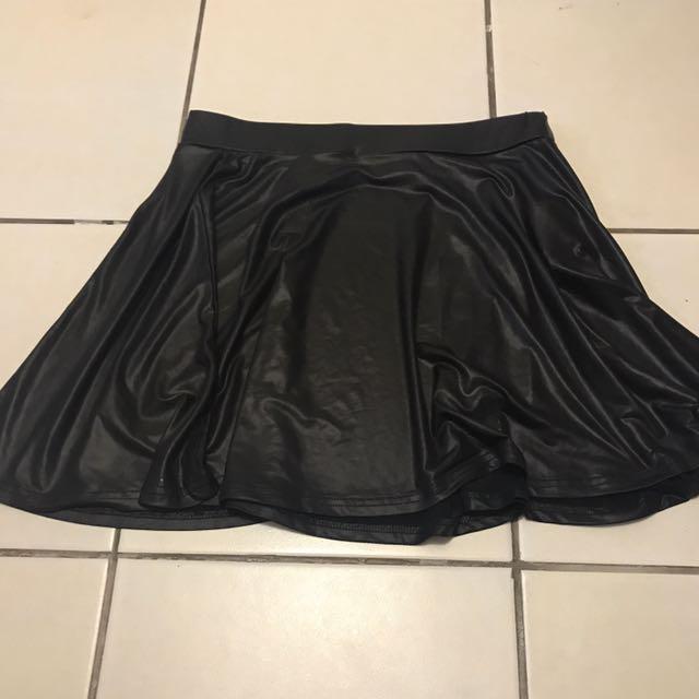 Black leather look skater skirt
