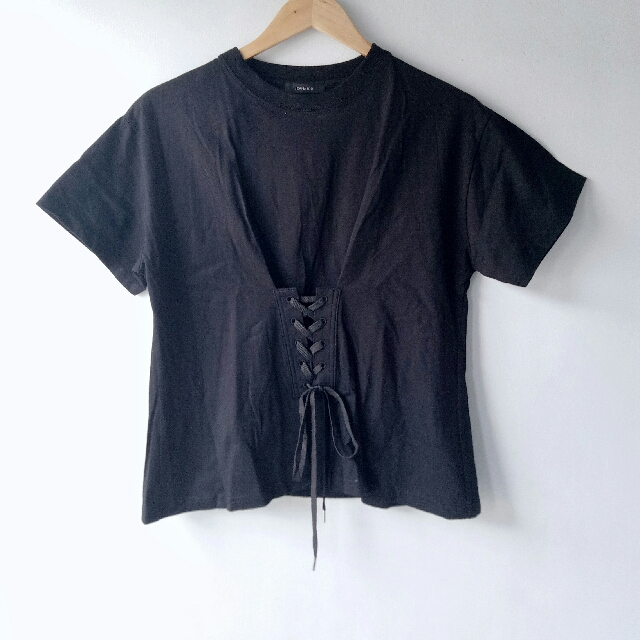 Black Shirt w/ Front Lace