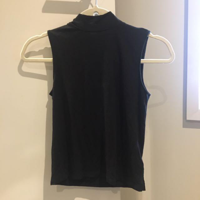 Black turtleneck Bardot top