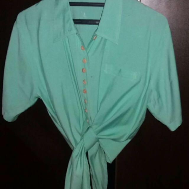 blouse ikat green mint