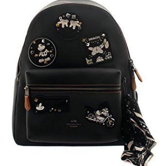 Coach x Disney Mickey Patches Charlie Leather Backpack F59375