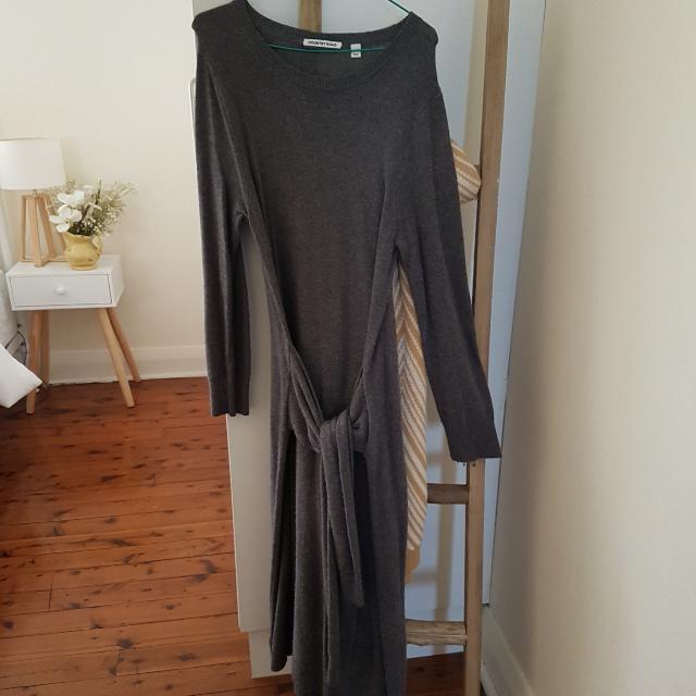 Country Road Long Sleeve Dark Grey Knitwear Dress